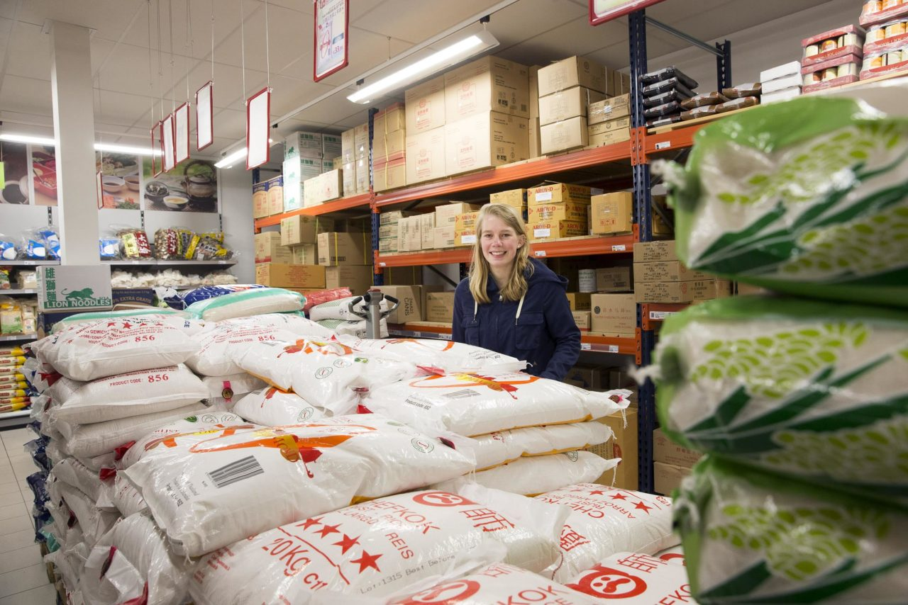 Elise Pel in Chinese supermarkt