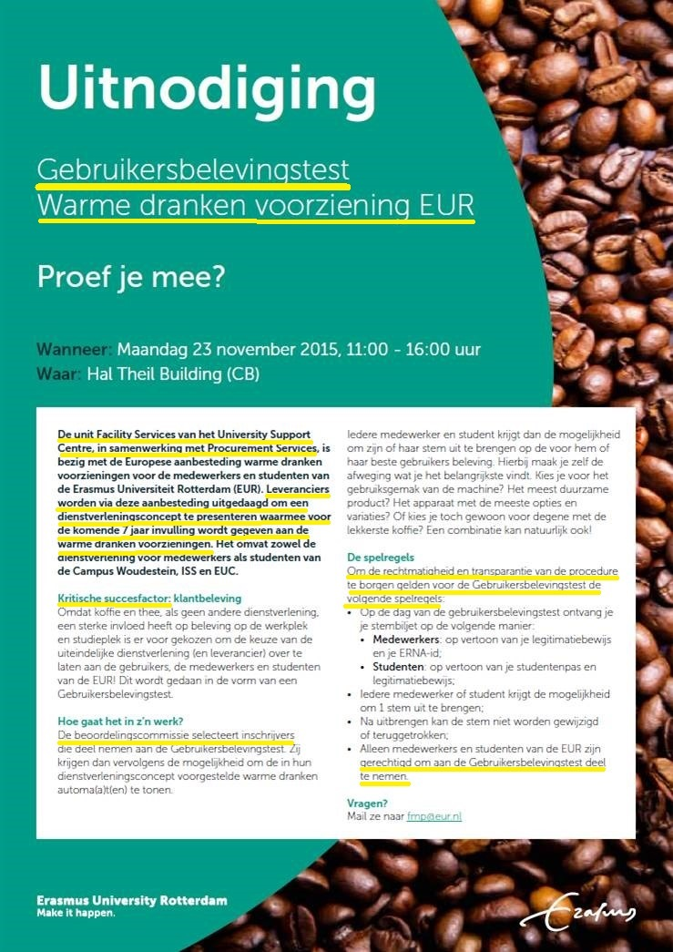 koffie proeven uitnodiging