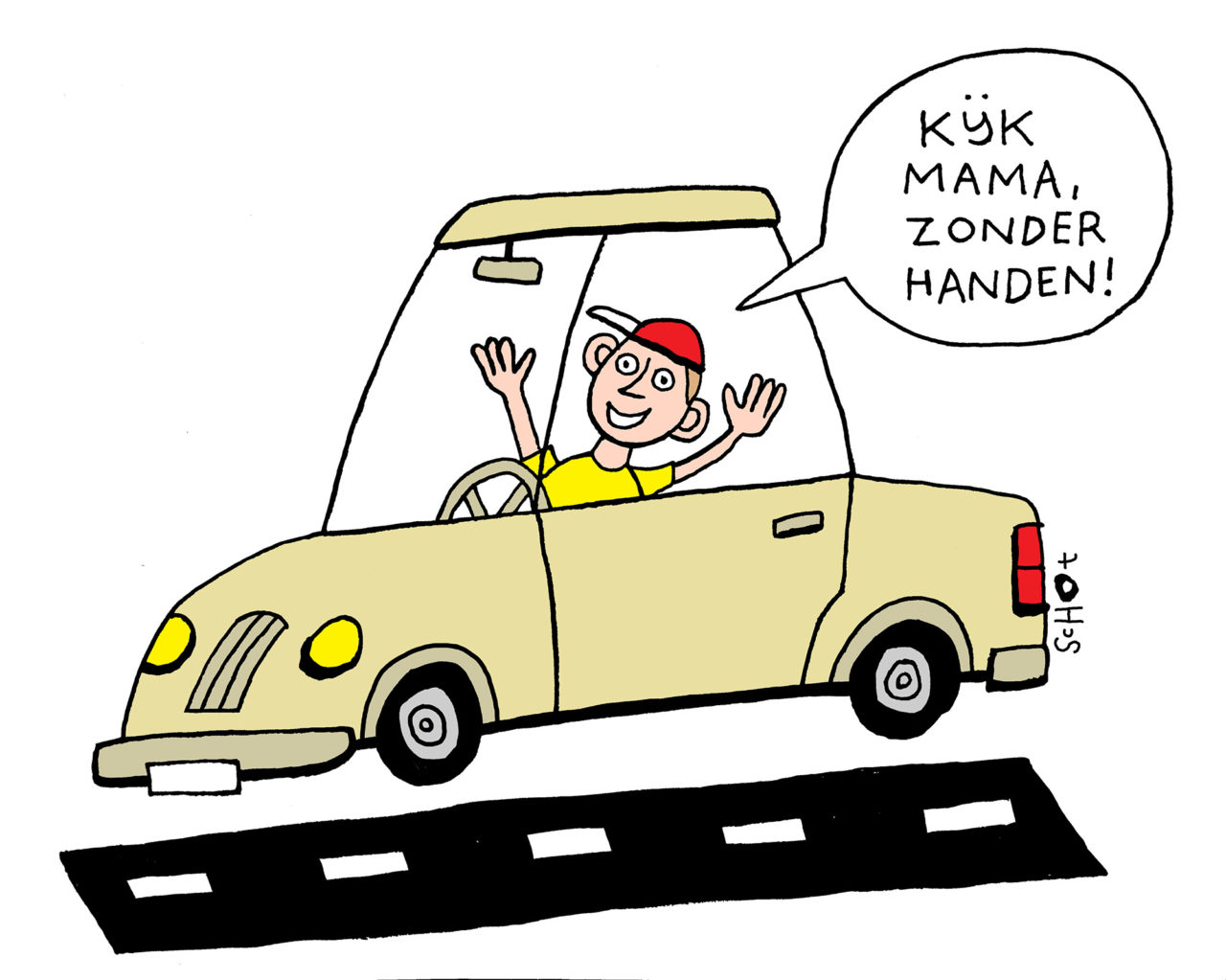 em-zelfrijdende auto zonder handen