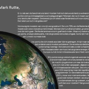 EUR-studenten schrijven open brief aan Rutte: 'Politici misbruiken hun vrijheid om onze planeet te verstieren'