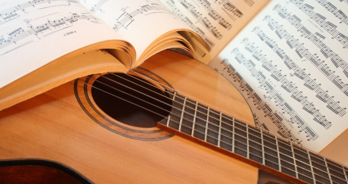 Acoustic guitar with notes