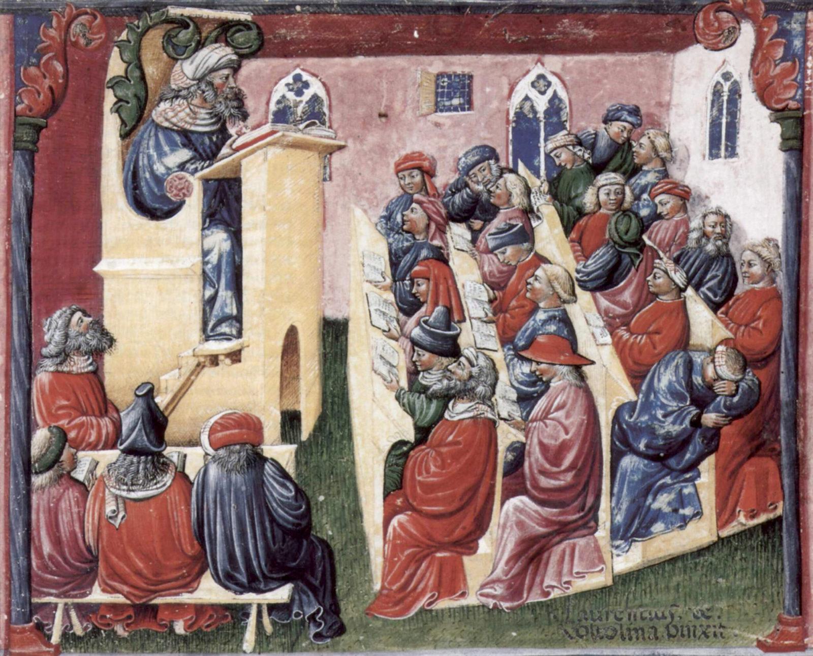 Laurentius_de_Voltolina_-onderwijspioniers-collegezaal-in-de-middeleeuwen