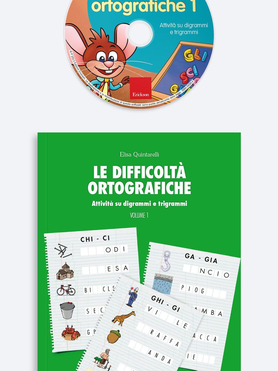 Le difficoltà ortografiche - Volume 1 - Schede per Tablotto (6-8 anni) - Grammatica incant - Giochi - Erickson
