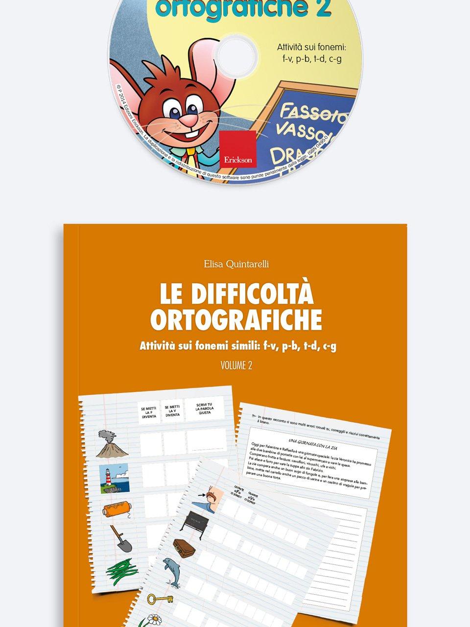 Le difficoltà ortografiche - Volume 2 - Schede per Tablotto (6-8 anni) - Grammatica incant - Giochi - Erickson 2