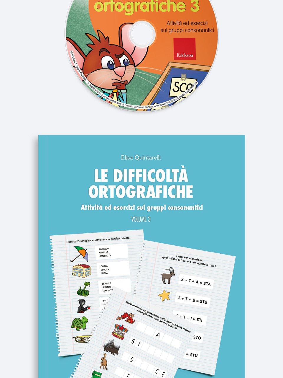 Le difficoltà ortografiche - Volume 3 - Schede per Tablotto (6-8 anni) - Grammatica incant - Giochi - Erickson 3