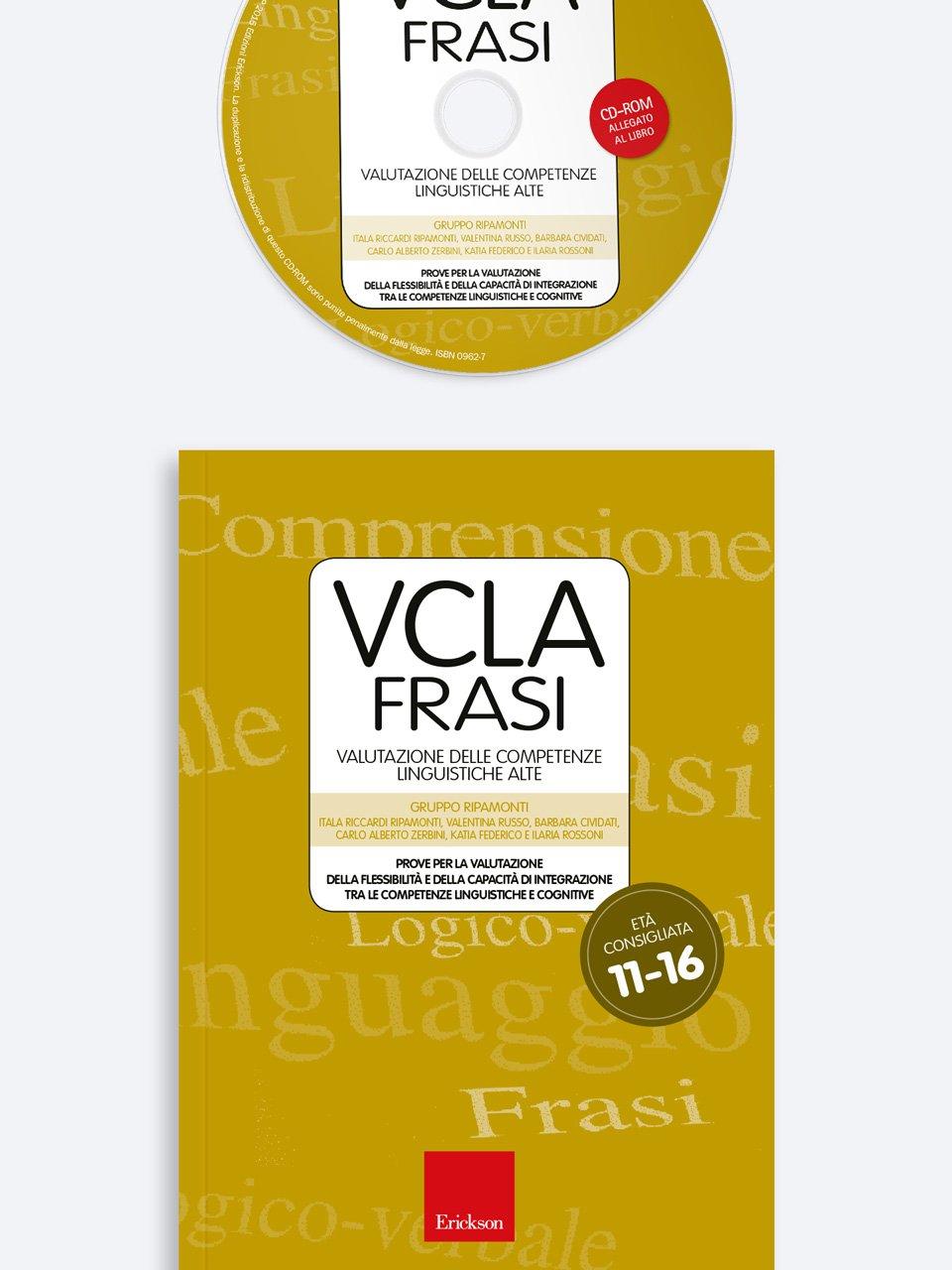 Test VCLA - FRASI Valutazione delle Competenze Linguistiche Alte - Comprensione del testo - Erickson