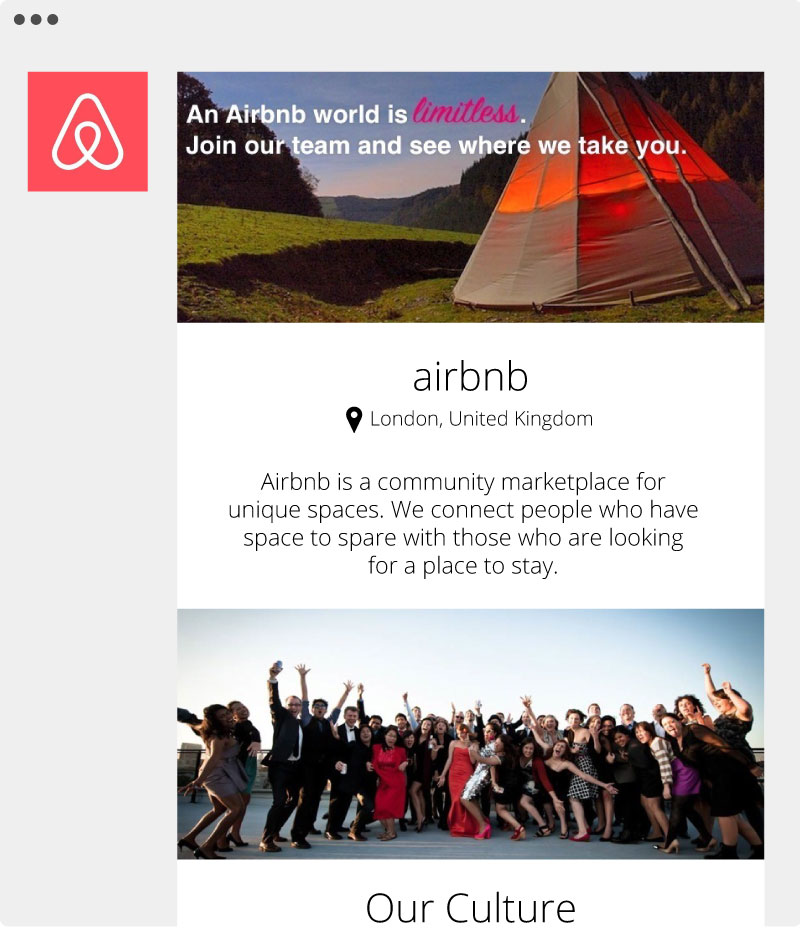 Airbnb Employer Page
