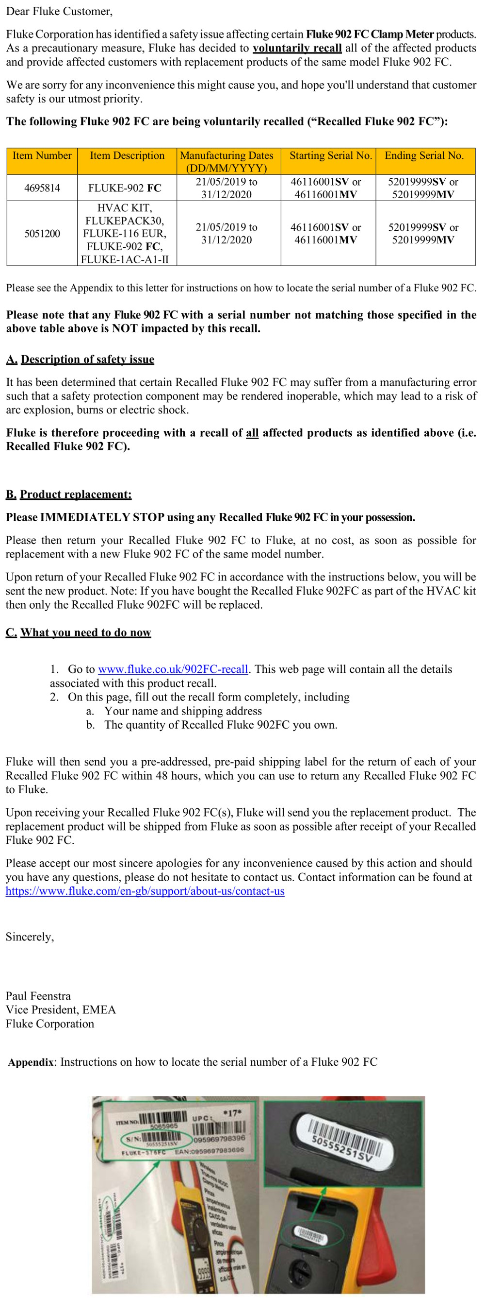 FLUKE Recall Letter For The FLUKE 902 FC
