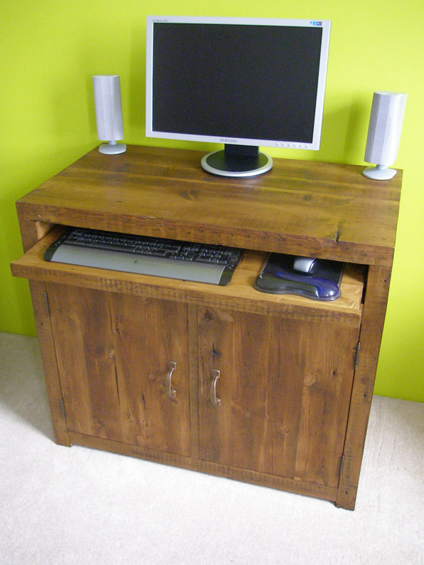 Reclaimed wood computer workstation
