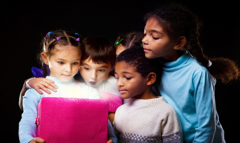 Children opening gift