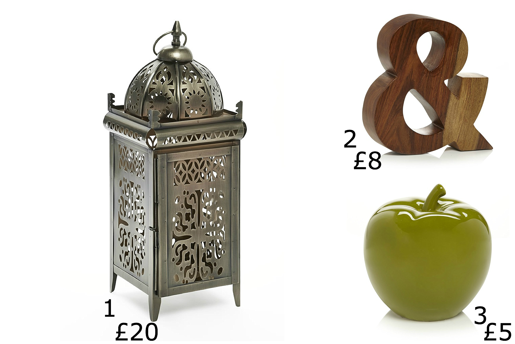 Apple Sculpture, Sustain Wooden And Sign, Moroccan Lantern Bronze Large