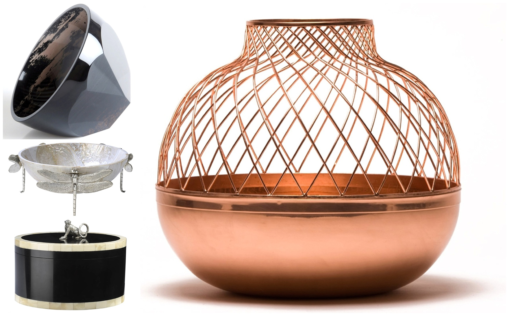 Dzovassar Bowl Sculpture, Dragonfly Dish, Monkey Coco Oval Box, Round Copper Grid Vase - available on LuxDeco