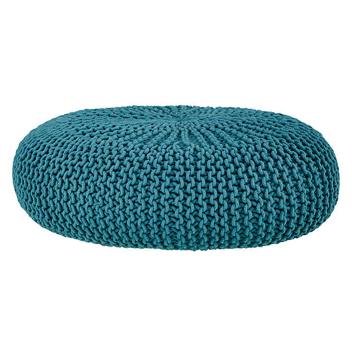 House by John Lewis Knitted Pouffe , Teal