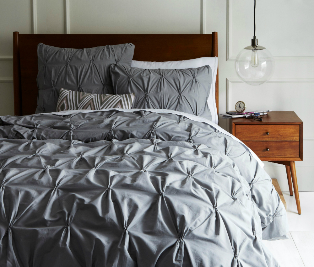 Organic Cotton Pintuck Duvet Cover and Shams - Feather Grey
