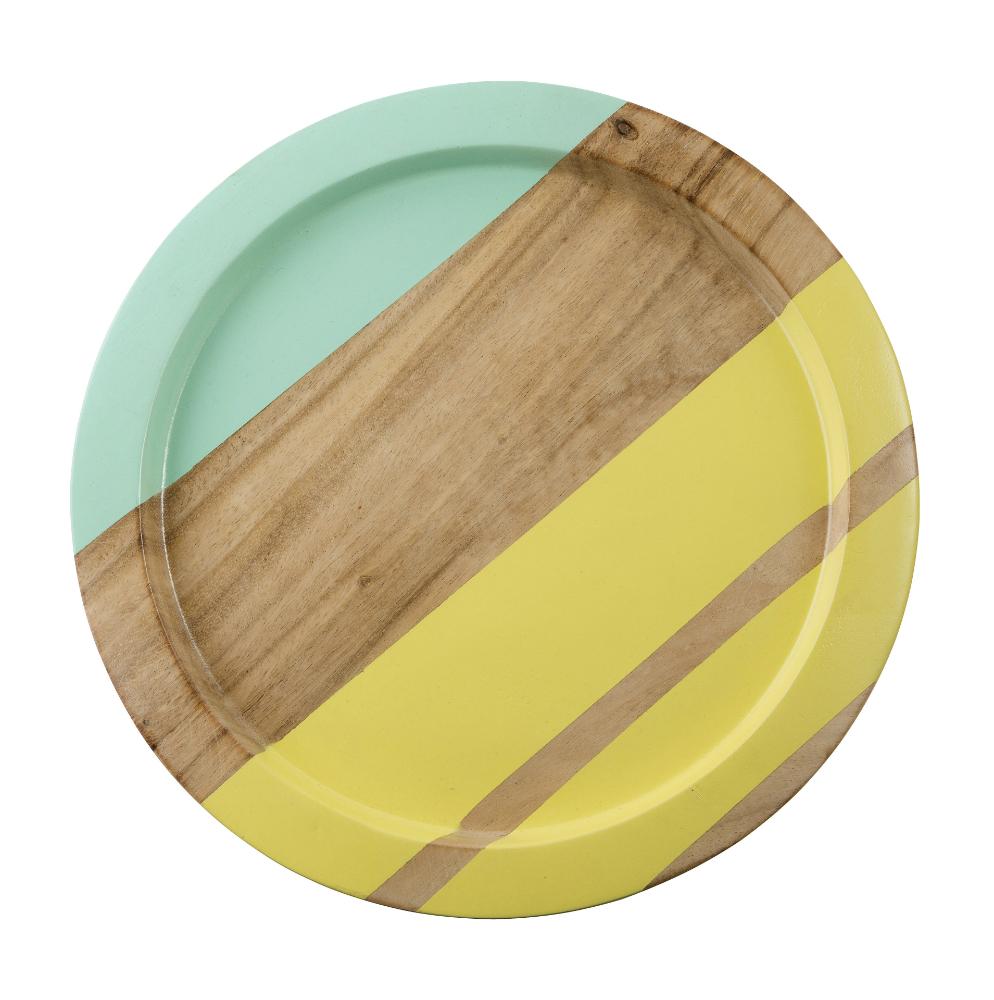 Tesco Round Wooden Stripe Tray