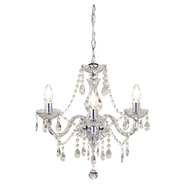 3 Arm Chandelier Beaded Ceiling Light - Wilko.com, £30