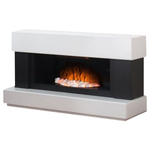 Adam Verona White and Grey Freestanding Electric Fire, Firesworld