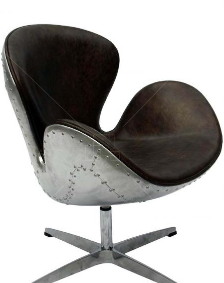 Spitfire Swan Chair by Arne Jacobsen in Vintage Style Brown Leather and Aluminium Shell, A Modern World