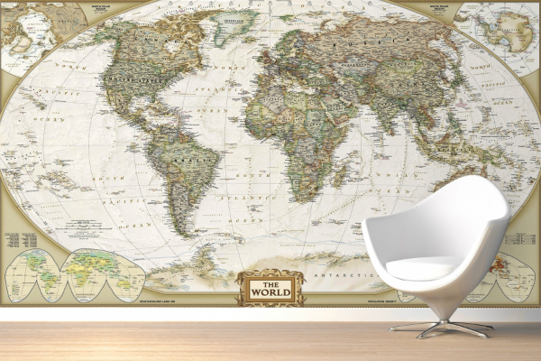 Traditional Old Style World Map Wall Mural, Muralswallpaper.co.uk