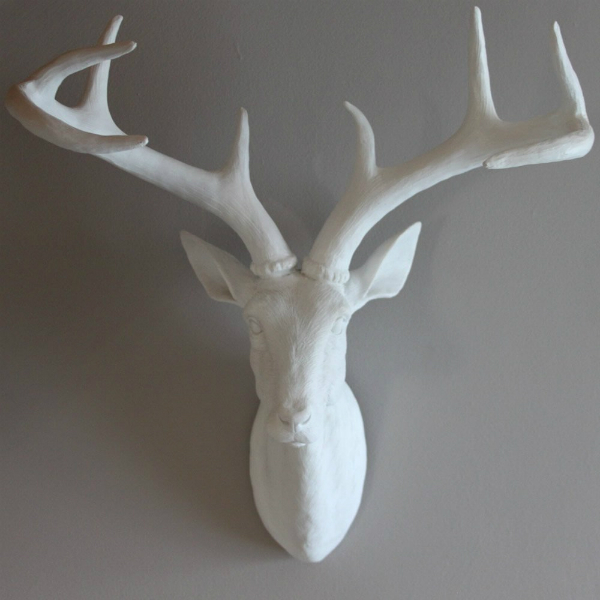 Large White Resin Stag Deer Head, Belle Maison