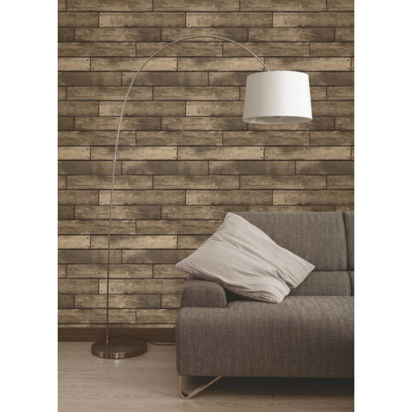 Fine Decor Wooden Plank Wallpaper, I Love Wallpaper