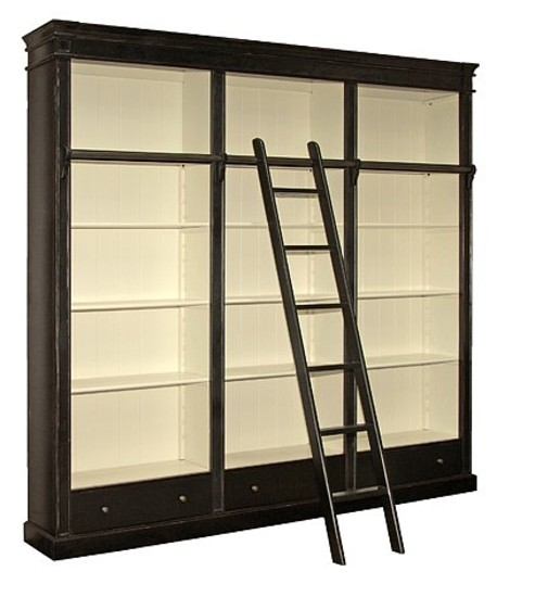 Black Fayence Library Bookcase With Ladder, Designersofas4u