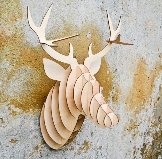 Large Wooden Stag Head, One Brown Cow