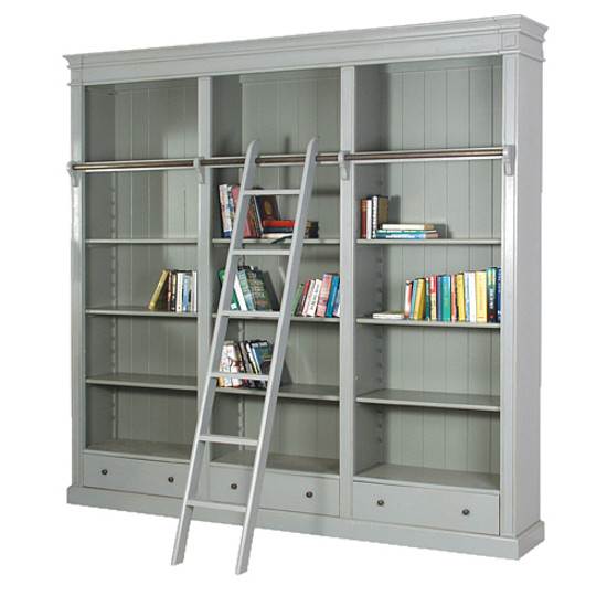 Fayence Library Bookcase with Ladder, Designersofas4u
