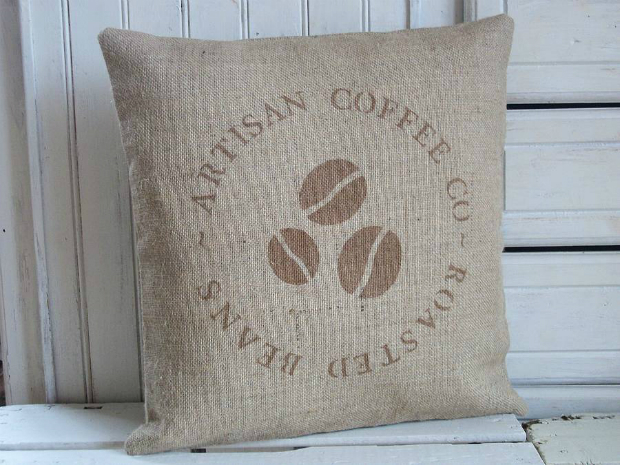 Coffee Bean Rustic Hessian Cushion, Not on the High Street