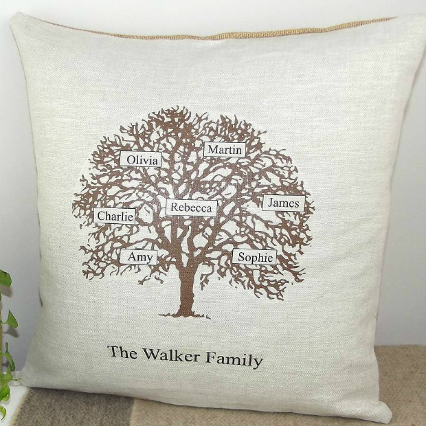 Personalised Family Tree Cushion, Not on the High Street.