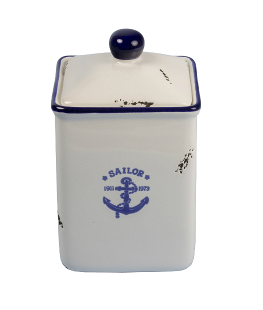 Anchor blue white nautical storage jar, Coastal Home £7.45