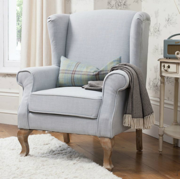 Adrienne Pastel Blue Linen Armchair, Alexander and Pearl £795.00