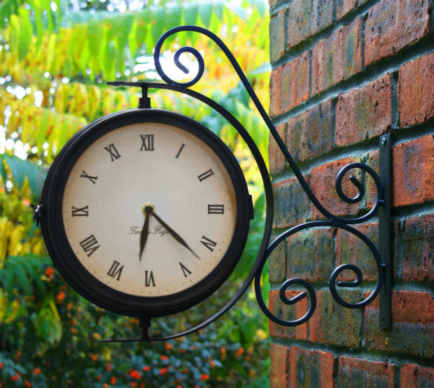 Bracket Mounted Outdoor Swivel Clock with Thermometer, Primrose £12.95
