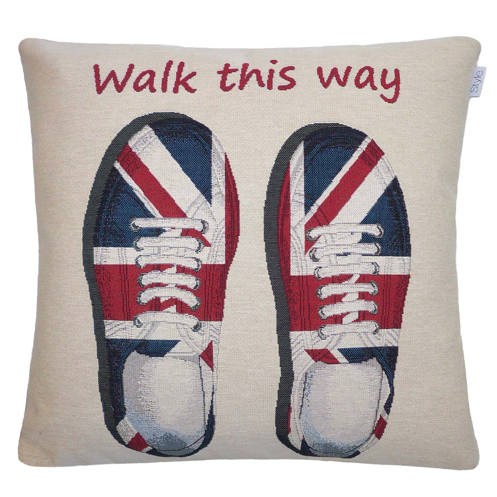 Vintage Union Jack Shoes Jacquard Cushion Cover, DoveMill £7.95