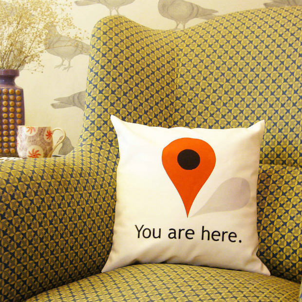 'You Are Here' Cushion, Not on the High Street £18.00
