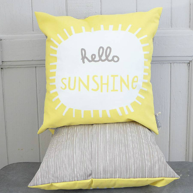 Hello Sunshine Printed Cushion, Not on the High Street £26.00