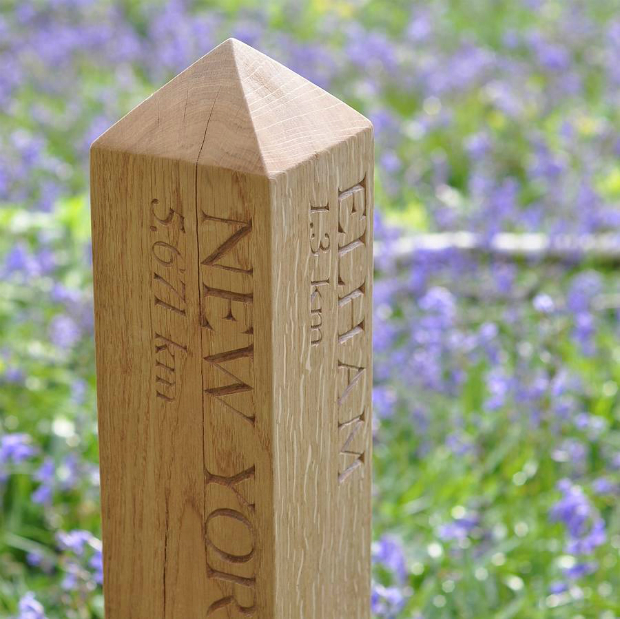 Personalised Solid Oak Mile Post, Not on the High Street £225.00