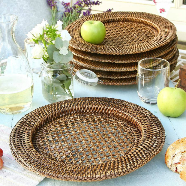 Set Of Six Rattan Charger Plates, Not on the High Street £44.95