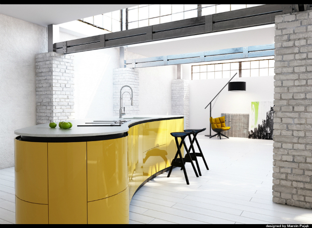 Yellow Kitchen Island, Source
