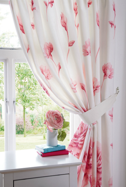 Modern Rose Line Curtains with Tie-Backs, Woolworths £30.00