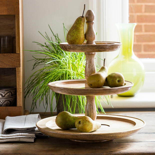 Three-tier wood cake stand-natural, Alison at Home