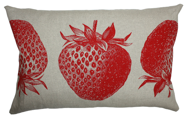 Linen cushion printed with strawberries, Annabel James £68.50