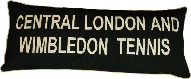 'Central London and Wimbledon Tennis' Cushion, Barbara Coupe £85.00