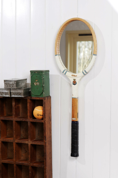 Vintage Tennis Racket Mirror, Dee Puddy House Vintage Garden £49.50