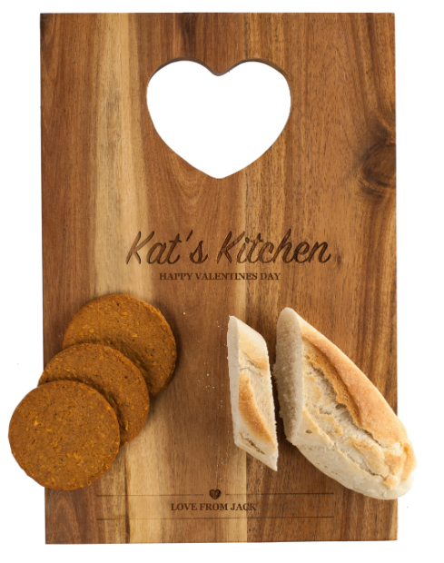 Personalised Acacia Wood Chopping Board With Heart Handle, GettingPersonal.co.uk £24.99