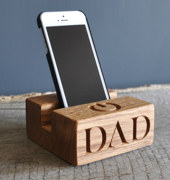 Solid Oak Phone Stand, Getting Personal £24.99