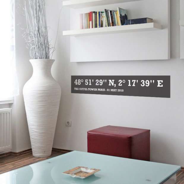 Personalised Coordinates Wall Sticker, Spin Collective £16.00