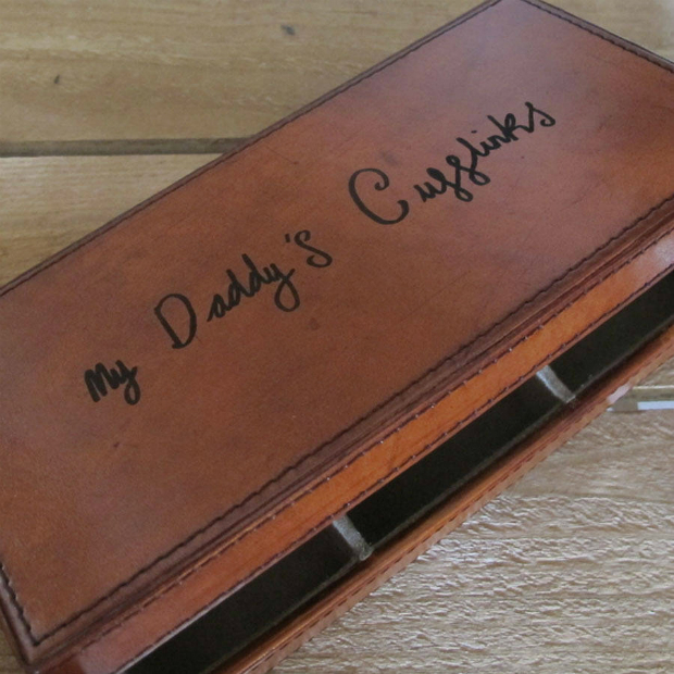 Leather Cufflink Box With Handwritten Message, Not on the High Street £103