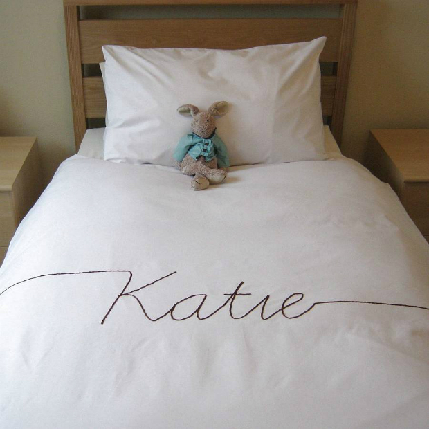 Personalised Script Font Duvet Cover, Not on the High Street £90.00