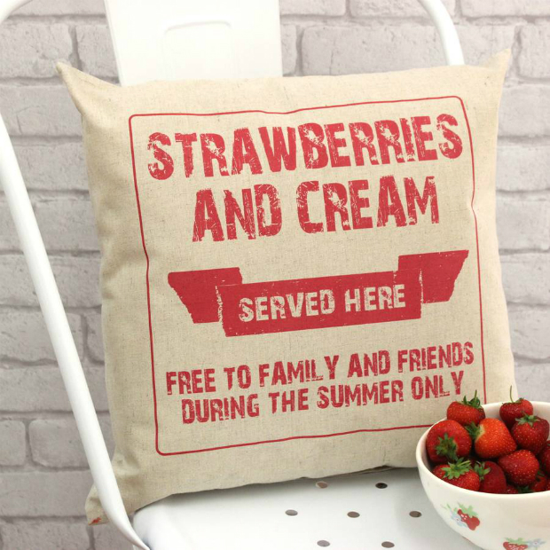 Strawberries And Cream Wimbledon Cushion, Not on the High Street £30.00